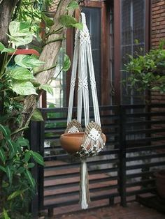 Tiara Two arms Macramé Plant Hanger by handiworkclub on Etsy