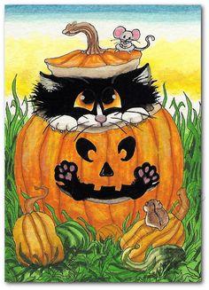 Black Cat Happy Halloween JackoLantern  Art Print von AmyLynBihrle, $8.99