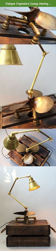 Unique Captain's Lamp (Antique boat propeller upcycled to an electric light). An old boat propeller was found on one of Californian flee markets during our trip around the states in the summer of 2014. Later when we returned home an idea to make a lamp of it came to mind. We added handmade lamp shade and parts that were proudly made in the us and several italian water tube fittings to finish the project that now you can see live. Hight: 50 cm Bulb: incandescent e27 for 220V Plug: european...