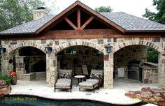 Outdoor Living Area, Cabana, Claffey Pools- Southlake Texas