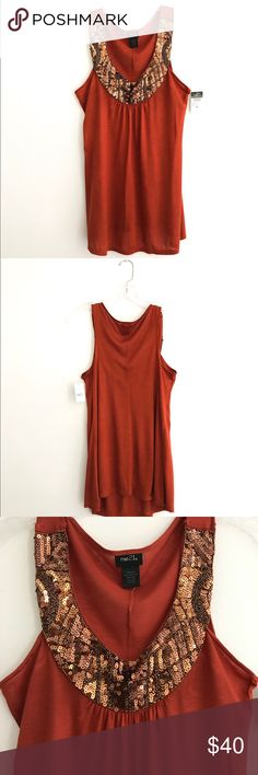 NWT Rue21 Stunning Amber Brown Sequined Tank Top This top is absolutely beautiful! It is new and in perfect condition! It has tons of sequins around the neck and flows beautifully! Size small Would also fit a medium! Bust 17 Length 29 Rue21 Tops Tank Tops