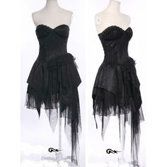 Black Lace Asymmetrical Corset Gothic Burlesque Cocktail Party Dress SKU-11402012