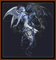 dragon and fairy cross stitch patterns   Marriage Cross Stitch [fairy dragon yin yang] - £1.30 : Witchykitt ...