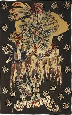 this is an ultimate Thanksgiving decor treasure...; early French Art Deco Aubusson Wool Tapestry signed by; Jean LURCAT (1892-1966)