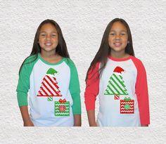 Kids Christmas Monogram|Baseball Raglan Tee|Glitter Monogram|Christmas Tree|Kids Christmas shirt|Christmas outfit|Holiday outfit|Toddler| by GavinsAllyeDesigns on Etsy