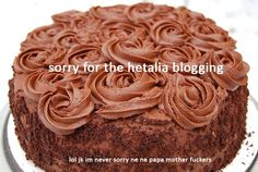 Can we just appreciate that someone decided to put this on a random picture of a random chocolate cake that's not related to Hetalia in any way, shape or form? Just saying