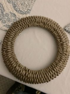 """This wreath was made with Dollar Tree items, except for the """"H"""" and the final bow. I began this project with 5 packs of this decorative rope and a 14 inch dia… Dollar Store Hacks, Dollar Stores, Jute, Coffee Filter Wreath, Book Page Wreath, Dollar Tree Fall, Dollar Tree Frames, Heart Wreath, Wreath Tutorial"""