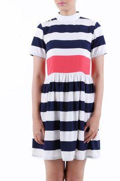 Lovely Yoanna Navy Stripe Dress by Dreulona www.dreulona.com