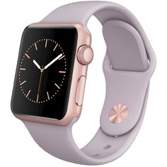 Apple Watch 38mm Rose Gold Aluminum Case with Lavender Sport Band ($349) ❤ liked on Polyvore featuring jewelry, watches, accessories, rose watches, sports watches, rose gold jewelry, rose gold jewellery and red gold jewelry