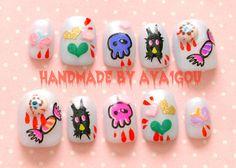 3D #nails #kawaii nails monster eye balls blood dripping by Aya1gou, $15.00