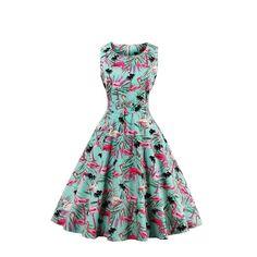 Vintage Flamingo Print Summer Dress For Women 50s 60s O-Neck Sleeveless Swing #Unbranded