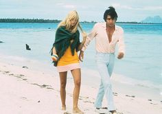 Brigitte Bardot and her 3rd husband Gunter Sachs on honeymoon in Tahiti, 1966