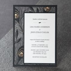 Black and gold peacock feather laser cut invites #weddinginvitations #engagementinvitations #formal #cocktailparty #greatgatsby #vintageglam #weddingtheme #weddingstyle #lasercutinvitations #gold #giantinvitations