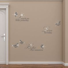 Walplus Swarovski with Grey Learn Live Hope Quote for Living Room Wall Sticker & Reviews | Wayfair UK