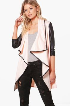 Petite Malin Contrast Trim Waterfall Duster in light pink with black trim -  Boohoo Shorts Inseam 0c0d0ea4b