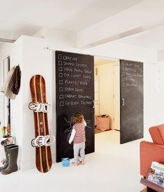 sliding barn door with chalkboard paint - even better.