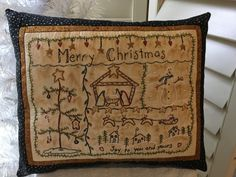 Christmas Season Sampler Decorative Pillow by StitchingTimeBoutiqu