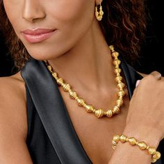 Golden Ribbed Bead Necklace - Necklaces - Jewelry - The Met Store