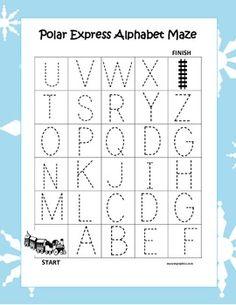 Polar Express Alphabet Tracing Mazes (3 Different Ones)