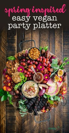 Purple Spring Produce Vegan Party Platter. Celebrate spring with a charcuterie board full of the freshest fruits and veggies. Easy to make, comes together quick and totally steals the show!— Cheeky Kitchen