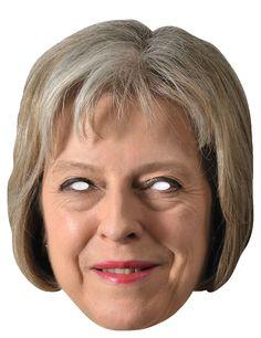 Máscara de cartón Theresa May: Esta máscara para adulto representa a la primera ministra británica del reino unido Theresa May.Es de cartón flexible y mide unos 26.5cm de alto y 20cm de ancho.Se sujeta...