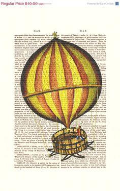 SPRING SALE Vintage Hot Air Balloon Print Yellow Red Digital Illustration Giclee Art Print Mixed Media Flying Poster wall art wall decor Wa