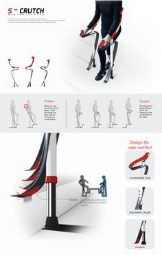 Existing crutches are uncomfortable because of the small tips touching the ground, and even more uncomfortable when going up and down the stairs. S-CRUTCH is an assistive device designed for comfortable walking, inspired by the artificial leg 'Cheetah flex foot' used by disabled athletes. Its elasticity and flexibility help support the weight of its user. The second carbon fiber support added to the center pole facilitates easier and more stable walking on both level and steep grounds. Design Industrial, Page Layout Design, Medical Design, Crutches, Presentation Design, Panel, Design Awards, Portfolio Design, Portfolio Layout