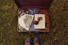 suitcase contents, glove, cigar, scarf