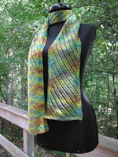 The pattern is written for a scarf, but instructions for making it into a larger wrap are included in the FlexTips box.