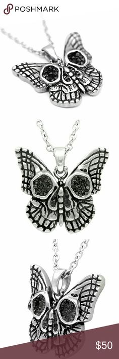 "Morbid Monarch Skull Necklace w Black CZ Made of 316L stainless steel, the pendant on the Morbid Monarch Butterfly Skull necklace carries 120 black cubic zirconia stones within the hollows of the skull design on the butterfly's wings. Pendant Size: W: 1.34"" H: 1.3"" 16"" - 18"" adjustable chain Comes with box *316L stainless steel— material that is tougher than gold or silver, which is noncorrosive and nonallergenic*  Tags: goth. Skull. Mothman. Moth. Wicca. Voodoo. Jewelry Necklaces"