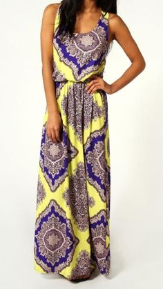 Neon Paisley Twist Back Maxi Dress---