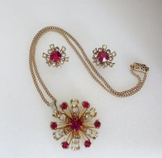 Cool Vintage Atomic Ruby Red & Icy Clear Rhinestone by baublology