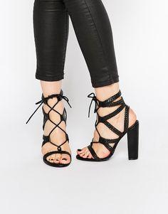 Image 1 ofMissguided Plaited Block Heeled Sandals