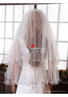 Wedding Veil 2 Tiers Tulle Bridal Veil Curved Edge Style BV014 - Wedding Veil