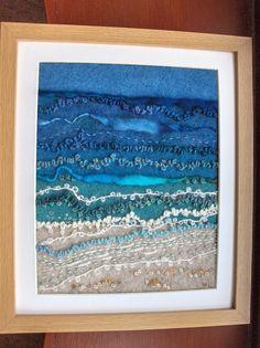 Landscape Art Quilts, Landscape Fabric, Fiber Art Quilts, Loom Craft, Fabric Postcards, Fabric Pictures, Weaving Art, Art Graphique, Felt Art