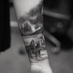 Wolf Tattoo by Turan Art NYC