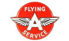Original Flying A Service Station Embossed Porcelain Sign