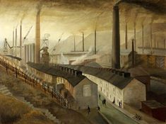 Steelworks, Ebbw Vale by Nan Youngman Urban Landscape, Landscape Art, Pintura Industrial, Irish Art, English Artists, Forest School, South Wales, Wales Uk, Old Paintings