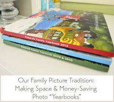 Make family yearbooks - they cost less than print + albums, and take up way less space.