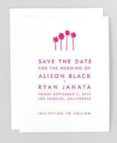 Maybe something simple like this with cypress trees or a bon fire?     Los Angeles Skyline Save the Date Card