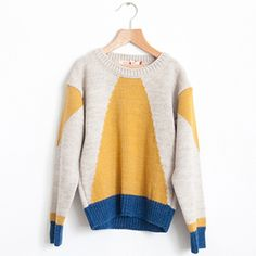 Knitted Wool Instarsia Jumper - Mustard - Bobo Choses