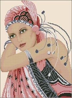Free cross-stitch pattern 'Odalisque' Pattern Name: Odalisque Colors: 24 DMC Fabric: Aida 14, Cream 140w X 190h Stitches Size(s): 14