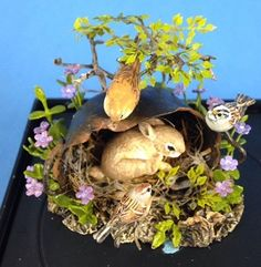 Bunny in a Basket with Birds