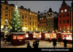 Christmas Market in Gamla Stan (Old Town) Stockholm, Sweden.