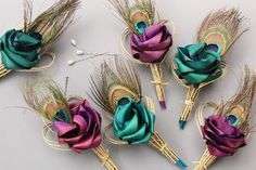 Peacock buttonholes in turquoise & pink/purple by Flaxation Autumn Wedding, Our Wedding, Wedding Stuff, Pink Turquoise, Pink Purple, Flax Weaving, Hand Bouquet, Bridal Flowers, Wedding Inspiration