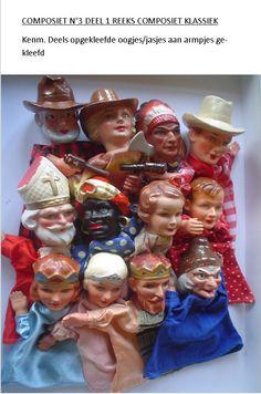 Poppenkastpoppen. Hand puppet. Puppet Theatre Doll. Vintage. Old. Cowboy. Saint. Bishop. King. Moor. Zwarte Piet. Sinterklaas.