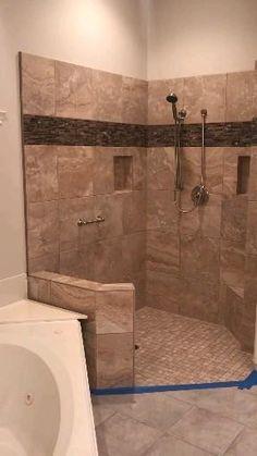 Bathroom Tile Designs, Bathroom Design Luxury, Modern Bathroom Design, Bathroom Colours, Bathroom Layout, Master Bathroom Shower, Shower Niche, Small Bathroom, Diy Shower