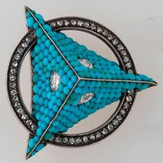 """antique brooch with turquoise and diamonds, mid-19th century. @victorianajewelry #turquoise…"""""""
