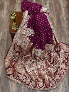 Wine Color Gold Zari Booti Konia Pure Khaddi Georgette Silk Banarasi S Bridal Silk Saree, Soft Silk Sarees, Trendy Sarees, Stylish Sarees, Sari Blouse Designs, Lehenga Designs, Indian Dress Up, Indian Wear, Designer Sarees Wedding