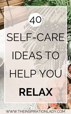 We all want and need different forms of self-care and it's good to have a big list of ideas to help. Here are 40 self-care ideas for when you need to relax! Take Care Of Yourself, Improve Yourself, Quotes Thoughts, Self Care Activities, Counseling Activities, Spa Water, Les Sentiments, Care Quotes, Self Care Routine